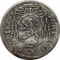 obverse of 3 Kreuzer - Paris (1653) coin with KM# 156 from Austrian States. Inscription: PARIS D:G: ARCHI.EPS: 3