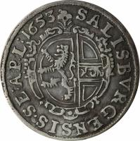 reverse of 3 Kreuzer - Paris (1653) coin with KM# 156 from Austrian States. Inscription: SALISBURGENSIS.SE:AP:L:1653
