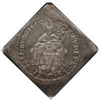 reverse of 1/6 Thaler - Maximilian Gandolph (1669 - 1679) coin with KM# 215 from Austrian States. Inscription: S:RVDBERTUS. EPS.SALISBURG:1669 1/6