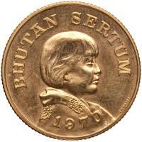 obverse of 1 Sertum - Jigme Dorji Wangchuck (1970) coin with KM# 36 from Bhutan. Inscription: BHUTAN SERTUM 1970 J.H.WASER