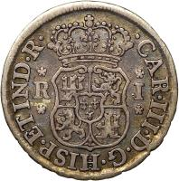 obverse of 1 Real - Carlos III (1767 - 1770) coin with KM# 47 from Bolivia. Inscription: CAR.III.D.G.HISP.ET.IND.R. R I