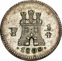 reverse of 1/4 Real - Carlos IV (1796 - 1809) coin with KM# 82 from Bolivia. Inscription: PTS 1/4 .1809.