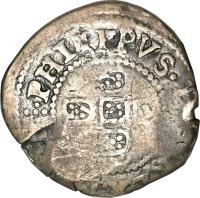 obverse of 75 Réis - Alfonso VI - Countermarked (1663) coin with KM# 16 from Brazil.