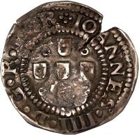 obverse of 75 Réis - João IV - Countermarked (1663) coin with KM# 26 from Brazil.