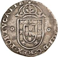 obverse of 125 Réis - João IV - Countermarked (1663) coin with KM# 30 from Brazil.