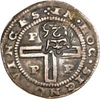 reverse of 125 Réis - João IV - Countermarked (1663) coin with KM# 30 from Brazil.