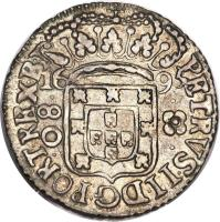 obverse of 80 Réis - Pedro II - Large crown (1695) coin with KM# 77 from Brazil. Inscription: PETRVS II D G PORT REX B 1695 80
