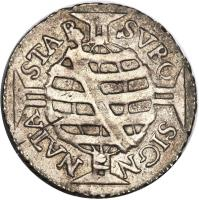 reverse of 80 Réis - Pedro II - Large crown (1695) coin with KM# 77 from Brazil. Inscription: STAB SVBQ SIGN NATA