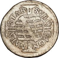 reverse of 160 Réis - Pedro II - Narrow crown (1695 - 1697) coin with KM# 80 from Brazil. Inscription: STAB. SVBQ SIGN. NATA