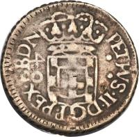 obverse of 40 Réis - Pedro II (1700 - 1702) coin with KM# 86 from Brazil. Inscription: PETRVS · II · DG P · REX · EBDN 40