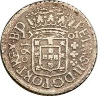 obverse of 160 Réis - Pedro II (1699 - 1702) coin with KM# 88 from Brazil. Inscription: PETRVS · II · DG · PORT · REX · BD 17 01 160