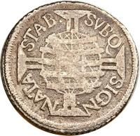 reverse of 160 Réis - Pedro II (1699 - 1702) coin with KM# 88 from Brazil. Inscription: STAB. SVBQ SIGN. NATA