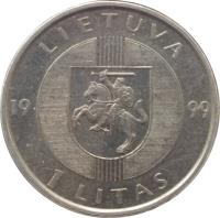 obverse of 1 Litas - 10th Anniversary of the Baltic Way (1999) coin with KM# 117 from Lithuania. Inscription: LIETUVA 19 99 1 LITAS