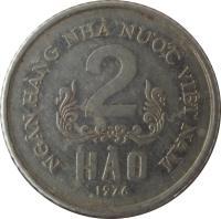 reverse of 2 Hao (1976) coin with KM# 12 from Vietnam. Inscription: NGÂN HÀNG NHÀ NU'Ó'C VIỆT NAM 2 HÀO 1976