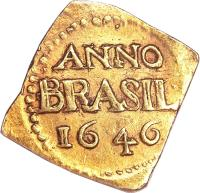 reverse of 3 Florins (1645 - 1646) coin with KM# 5 from Brazil. Inscription: ANNO BRASIL 1646