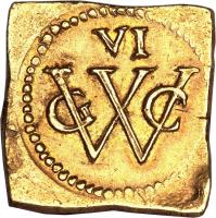obverse of 6 Florins (1645 - 1646) coin with KM# 6 from Brazil. Inscription: VI GWC