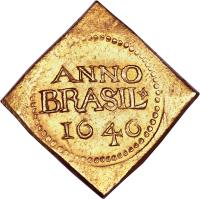 reverse of 12 Florins (1645 - 1646) coin with KM# 7 from Brazil. Inscription: ANNO BRASIL 1646
