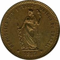 obverse of 40 Réis (1889) coin with KM# Pn171 from Brazil.