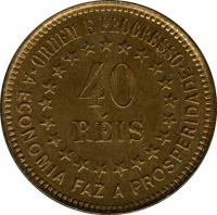 reverse of 40 Réis (1889) coin with KM# Pn171 from Brazil.