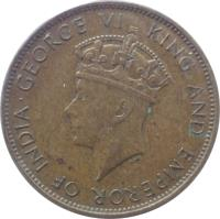 obverse of 1 Penny - George VI (1937) coin with KM# 29 from Jamaica. Inscription: · GEORGE VI KING AND EMPEROR OF INDIA