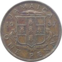 reverse of 1 Penny - George VI (1937) coin with KM# 29 from Jamaica. Inscription: JAMAICA 19 37 ONE PENNY