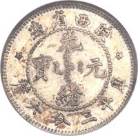 obverse of 3.6 Candareens - Guangxu (1898) coin with KM# Pn1 from China.
