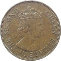 obverse of 1 Penny - Elizabeth II - 1'st Portrait (1964 - 1967) coin with KM# 39 from Jamaica. Inscription: QUEEN ELIZABETH THE SECOND
