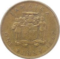 reverse of 1 Penny - Elizabeth II - 1'st Portrait (1964 - 1967) coin with KM# 39 from Jamaica. Inscription: JAMAICA ONE PENNY 1967