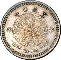 reverse of 1/10 Dollar - Xuantong (1910) coin with K# 222 from China.