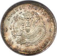 reverse of 7.2 Candareens - Guangxu (1898) coin with Y# 42 from China. Inscription: AN-HWEI PROVINCE 7.2 CANDAREENS