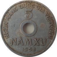 reverse of 5 Xu (1958) coin with KM# 7 from Vietnam. Inscription: NGÂN HÀNG QUỐC GIA VIỆT NAM 5 NĂMXU 1958