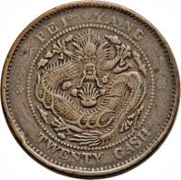reverse of 20 Cash - Guangxu (1906) coin with Y# 68 from China.