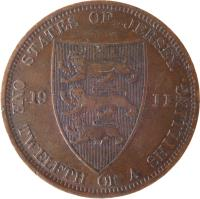 reverse of 1/12 Shilling - George V (1911 - 1923) coin with KM# 12 from Jersey. Inscription: STATES OF JERSEY. 19 11 ONE TWELFTH OF A SHILLING.