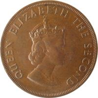 obverse of 1/12 Shilling - Elizabeth II - Charles II - 1'st Portrait (1960) coin with KM# 23 from Jersey. Inscription: QUEEN ELIZABETH THE SECOND