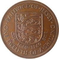 reverse of 1/12 Shilling - Elizabeth II - Charles II - 1'st Portrait (1960) coin with KM# 23 from Jersey. Inscription: · BAILIWICK · OF · JERSEY · CIIR 1660-1960 EIIR ONE · TWELFTH · OF · A · SHILLING
