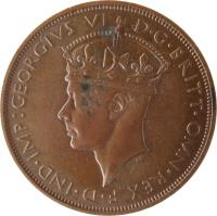 obverse of 1/12 Shilling - George VI (1937 - 1947) coin with KM# 18 from Jersey. Inscription: GEORGIVS VI D · G · BRITT · OMN · REX F · D · IND · IMP: