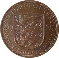 reverse of 1/12 Shilling - George VI (1937 - 1947) coin with KM# 18 from Jersey. Inscription: · STATES · OF · JERSEY · 19 37 ONE · TWELFTH · OF · A · SHILLING