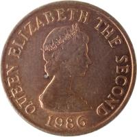 obverse of 1 Penny - Elizabeth II - 2'nd Portrait (1983 - 1992) coin with KM# 54 from Jersey. Inscription: QUEEN ELIZABETH THE SECOND 1990