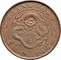 reverse of 10 Cash - Guangxu coin with Y# 160 from China. Inscription: KIANG-SOO TEN CASH