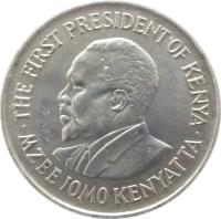 obverse of 1 Shilling - With legend (1969 - 1978) coin with KM# 14 from Kenya. Inscription: MZEE JOMO KENYATTA THE FIRST PRESIDENT OF KENYA