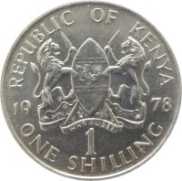reverse of 1 Shilling - With legend (1969 - 1978) coin with KM# 14 from Kenya. Inscription: REPUBLIC OF KENYA 19 71 HARAMBEE 1 ONE SHILLING