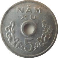 reverse of 5 Xu (1975) coin with KM# A10 from Vietnam. Inscription: NĂM XU 5