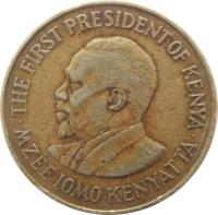 obverse of 10 Cents - With legend (1969 - 1978) coin with KM# 11 from Kenya. Inscription: · MZEE JOMO KENYATTA · FIRST PRESIDENT OF KENYA