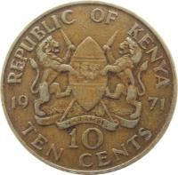 reverse of 10 Cents - With legend (1969 - 1978) coin with KM# 11 from Kenya. Inscription: REPUBLIC OF KENYA 19 71 10 TEN CENTS HARAMBEE