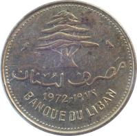 obverse of 10 Piastres (1968 - 1975) coin with KM# 26 from Lebanon. Inscription: 1972 BANQUE DU LIBAN