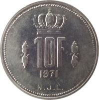 reverse of 10 Francs - Jean I (1971 - 1980) coin with KM# 57 from Luxembourg. Inscription: 10F 1971 N.J.L.