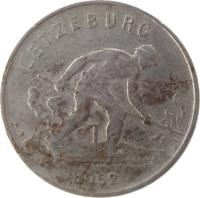 obverse of 1 Franc - Charlotte - Smaller (1952 - 1964) coin with KM# 46.2 from Luxembourg. Inscription: LETZEBURG 1952 A.B.