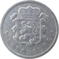 obverse of 25 Centimes (1954 - 1972) coin with KM# 45a from Luxembourg. Inscription: · LETZEBURG ·