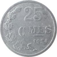 reverse of 25 Centimes (1954 - 1972) coin with KM# 45a from Luxembourg. Inscription: 25 CMES 1954