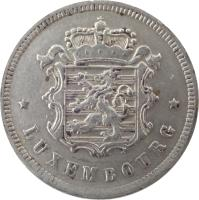 obverse of 25 Centimes - Charlotte (1938) coin with KM# 42a from Luxembourg. Inscription: * LUXEMBOURG *